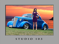 Studio 103  Girl  Sunset & 37  Chevy with a hemi_24x18